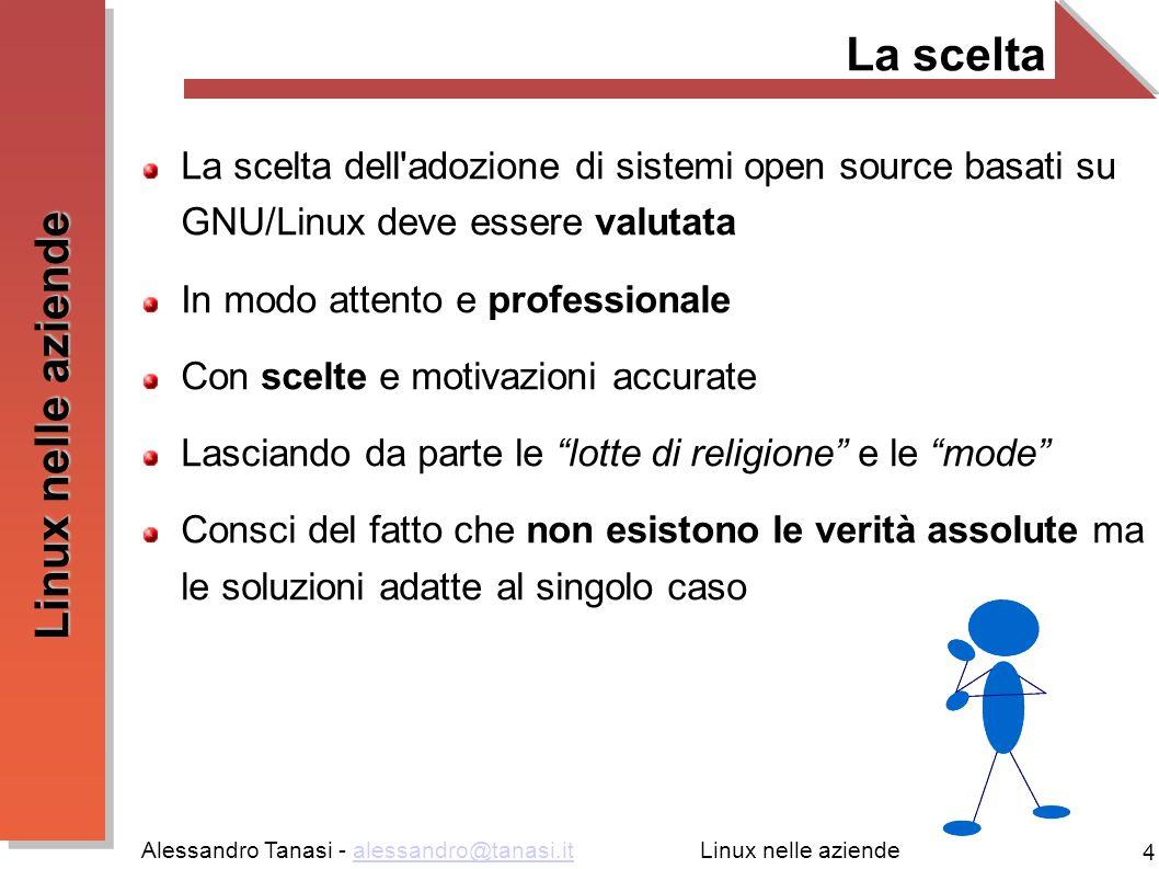 Alessandro Tanasi - alessandro@tanasi.italessandro@tanasi.it 4 Linux nelle aziende La scelta La scelta dell'adozione di sistemi open source basati su