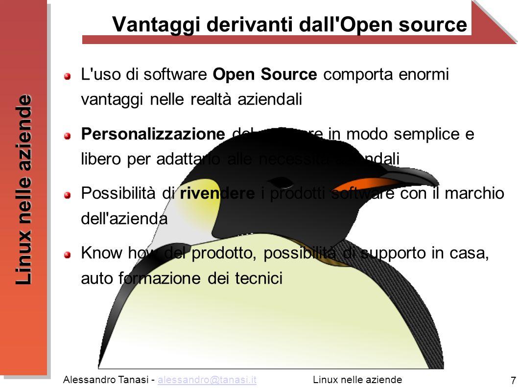 Alessandro Tanasi - alessandro@tanasi.italessandro@tanasi.it 7 Linux nelle aziende Vantaggi derivanti dall'Open source L'uso di software Open Source c
