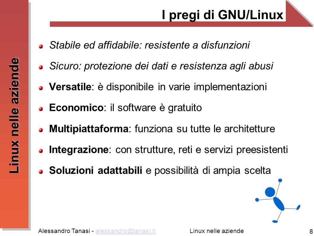 Alessandro Tanasi - alessandro@tanasi.italessandro@tanasi.it 8 Linux nelle aziende I pregi di GNU/Linux Stabile ed affidabile: resistente a disfunzion