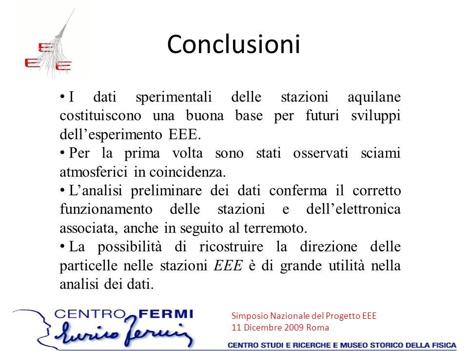 Simposio Nazionale del Progetto EEE 11 Dicembre 2009 Roma Conclusioni I dati sperimentali delle stazioni aquilane costituiscono una buona base per fut