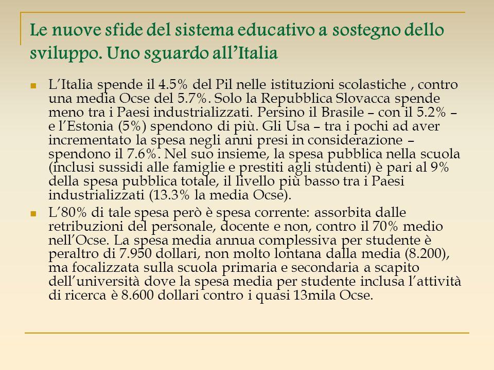 Le nuove sfide del sistema educativo a sostegno dello sviluppo. Uno sguardo allItalia LItalia spende il 4.5% del Pil nelle istituzioni scolastiche, co