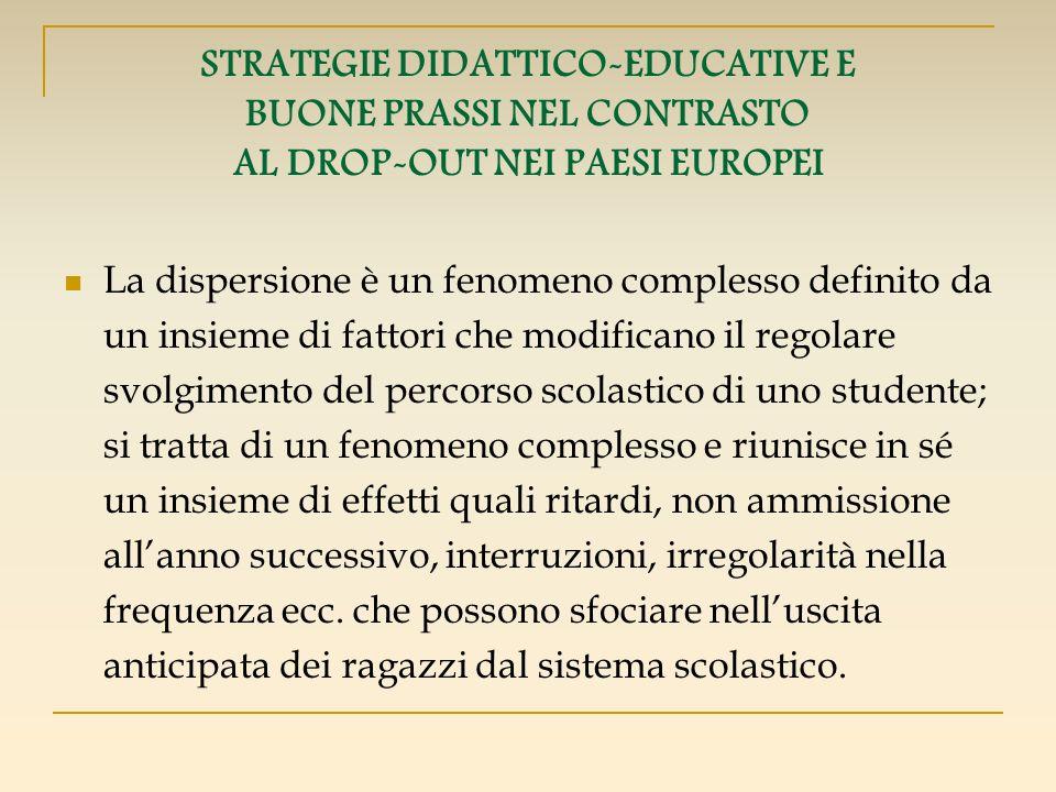 STRATEGIE DIDATTICO-EDUCATIVE E BUONE PRASSI NEL CONTRASTO AL DROP-OUT NEI PAESI EUROPEI La dispersione è un fenomeno complesso definito da un insieme