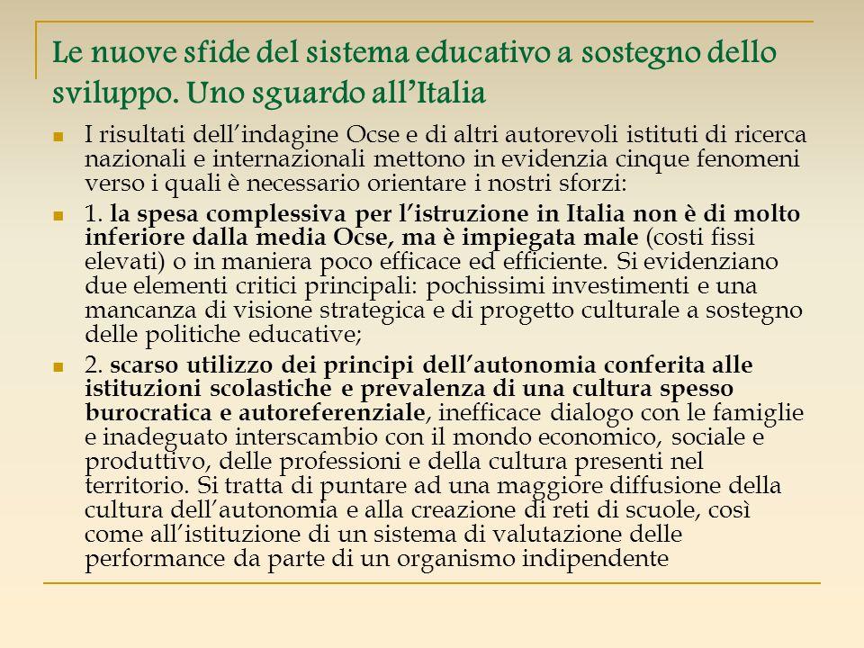 Le nuove sfide del sistema educativo a sostegno dello sviluppo. Uno sguardo allItalia I risultati dellindagine Ocse e di altri autorevoli istituti di
