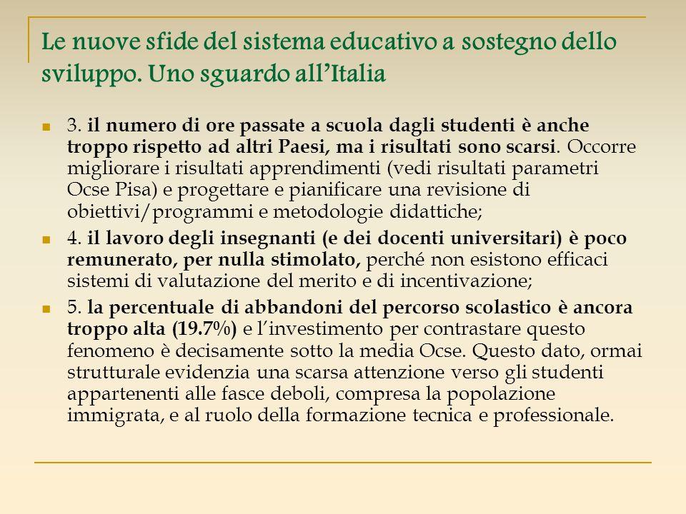 Le nuove sfide del sistema educativo a sostegno dello sviluppo. Uno sguardo allItalia 3. il numero di ore passate a scuola dagli studenti è anche trop