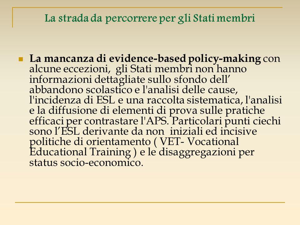 La strada da percorrere per gli Stati membri La mancanza di evidence-based policy-making con alcune eccezioni, gli Stati membri non hanno informazioni