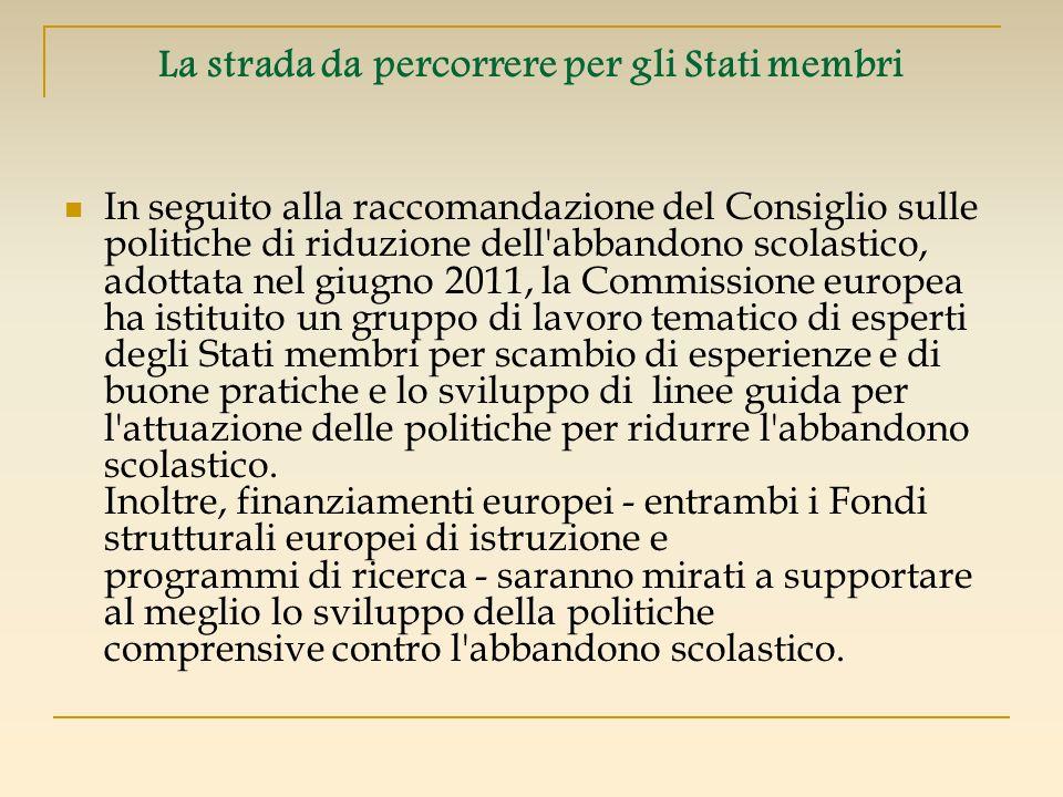 La strada da percorrere per gli Stati membri In seguito alla raccomandazione del Consiglio sulle politiche di riduzione dell'abbandono scolastico, ado