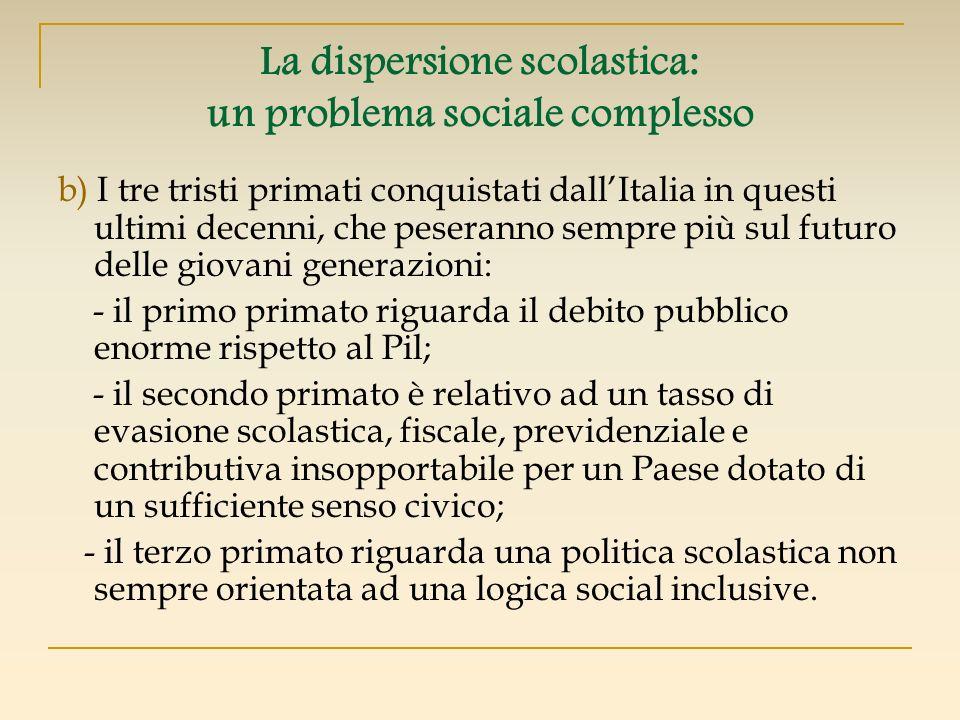 La dispersione scolastica: un problema sociale complesso b) I tre tristi primati conquistati dallItalia in questi ultimi decenni, che peseranno sempre