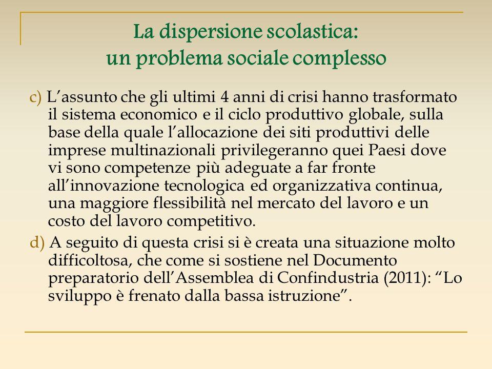 La dispersione scolastica: un problema sociale complesso c) Lassunto che gli ultimi 4 anni di crisi hanno trasformato il sistema economico e il ciclo