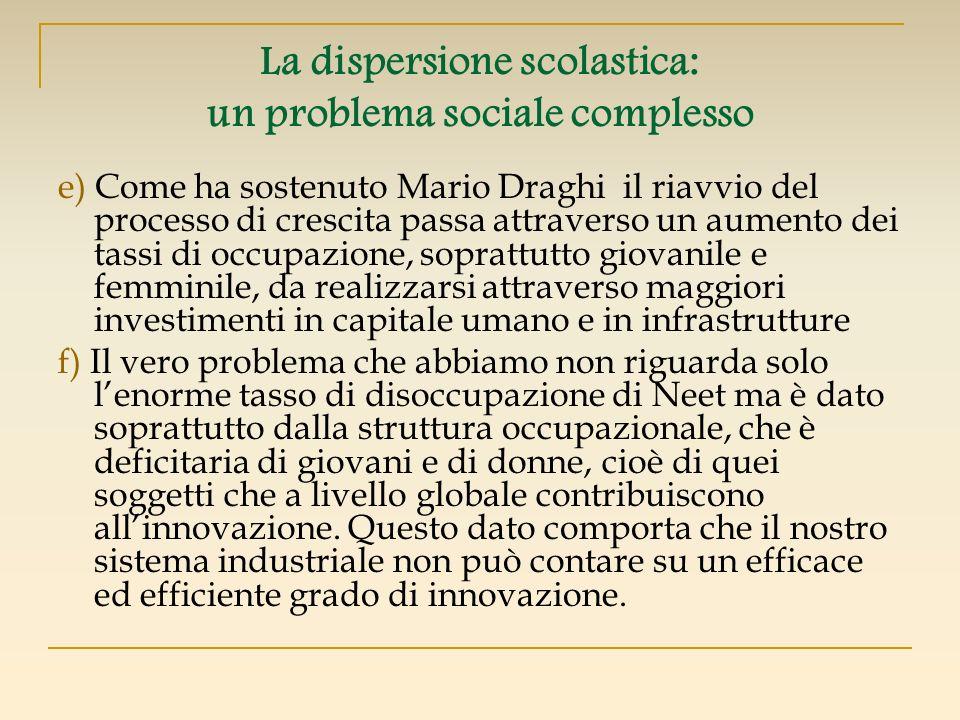 La dispersione scolastica: un problema sociale complesso e) Come ha sostenuto Mario Draghi il riavvio del processo di crescita passa attraverso un aum
