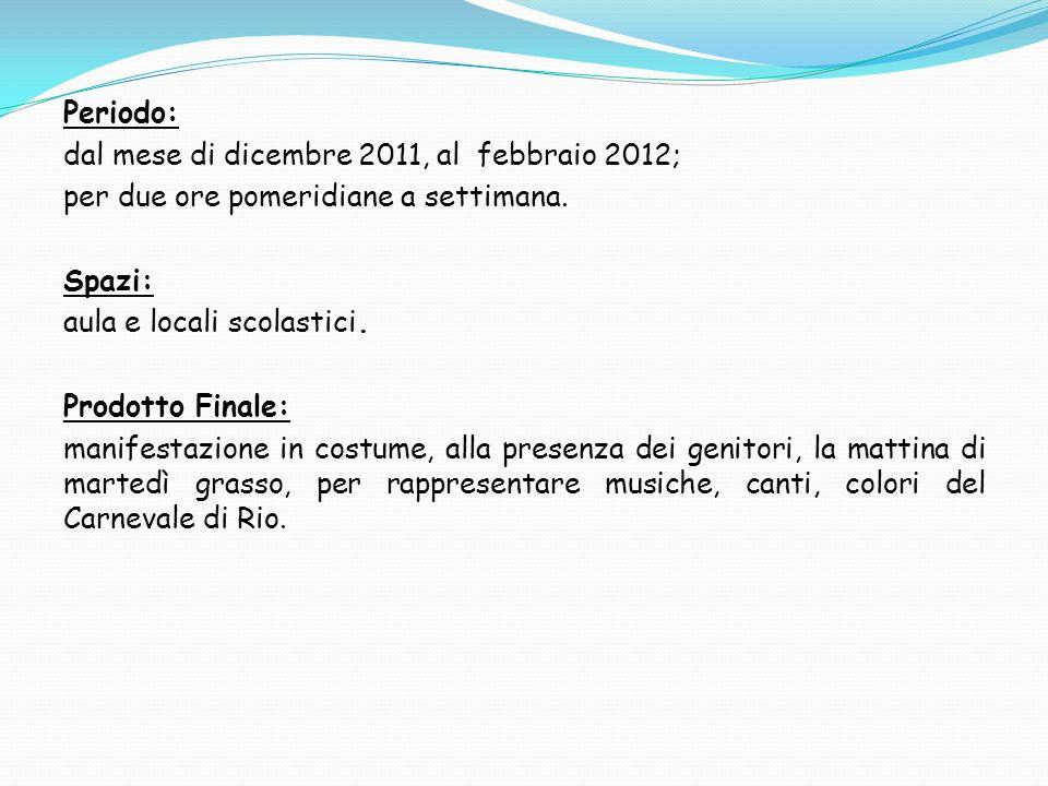 Periodo: dal mese di dicembre 2011, al febbraio 2012; per due ore pomeridiane a settimana. Spazi: aula e locali scolastici. Prodotto Finale: manifesta