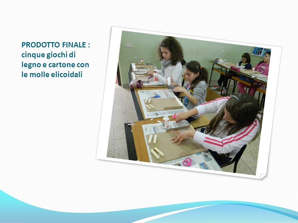 PRODOTTO FINALE : cinque giochi di legno e cartone con le molle elicoidali