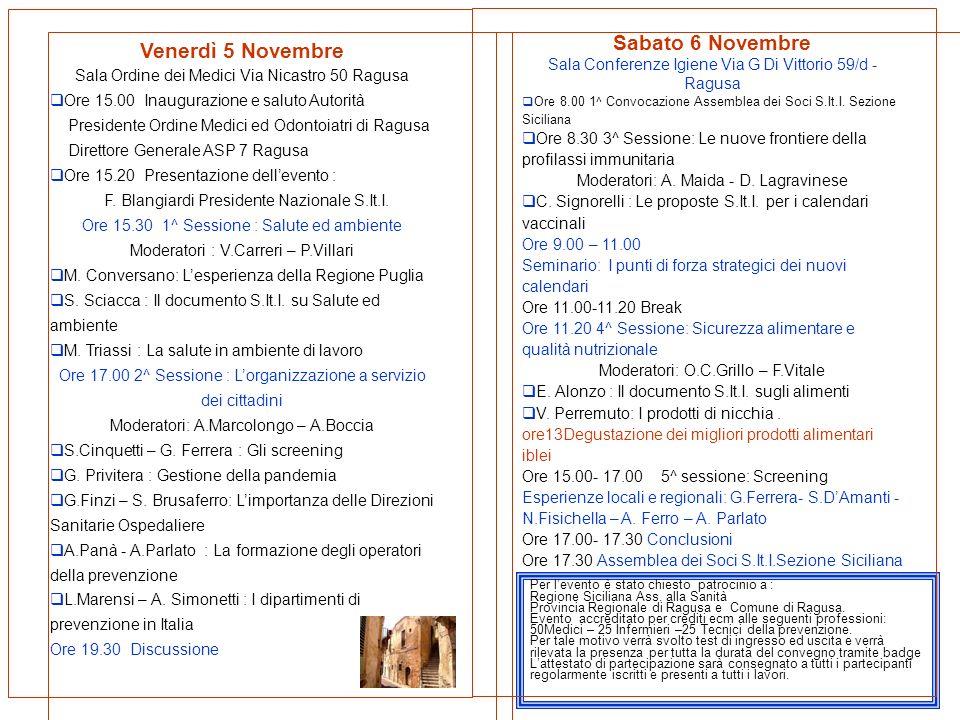 Venerdì 5 Novembre Sala Ordine dei Medici Via Nicastro 50 Ragusa Ore 15.00 Inaugurazione e saluto Autorità Presidente Ordine Medici ed Odontoiatri di Ragusa Direttore Generale ASP 7 Ragusa Ore 15.20 Presentazione dellevento : F.