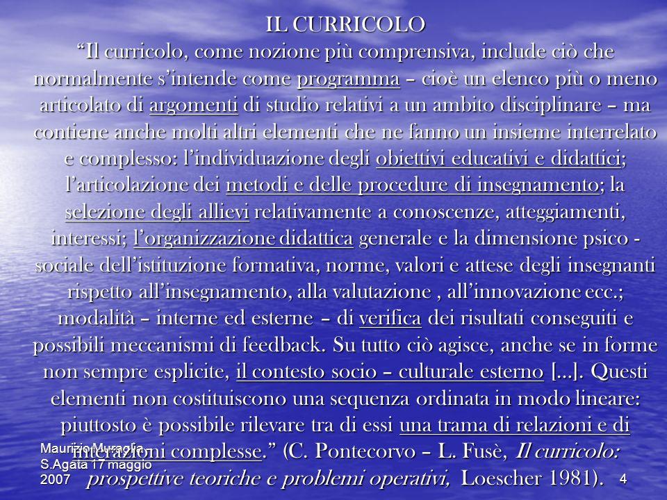 Maurizio Muraglia - S.Agata 17 maggio 20074 IL CURRICOLO Il curricolo, come nozione più comprensiva, include ciò che normalmente sintende come program