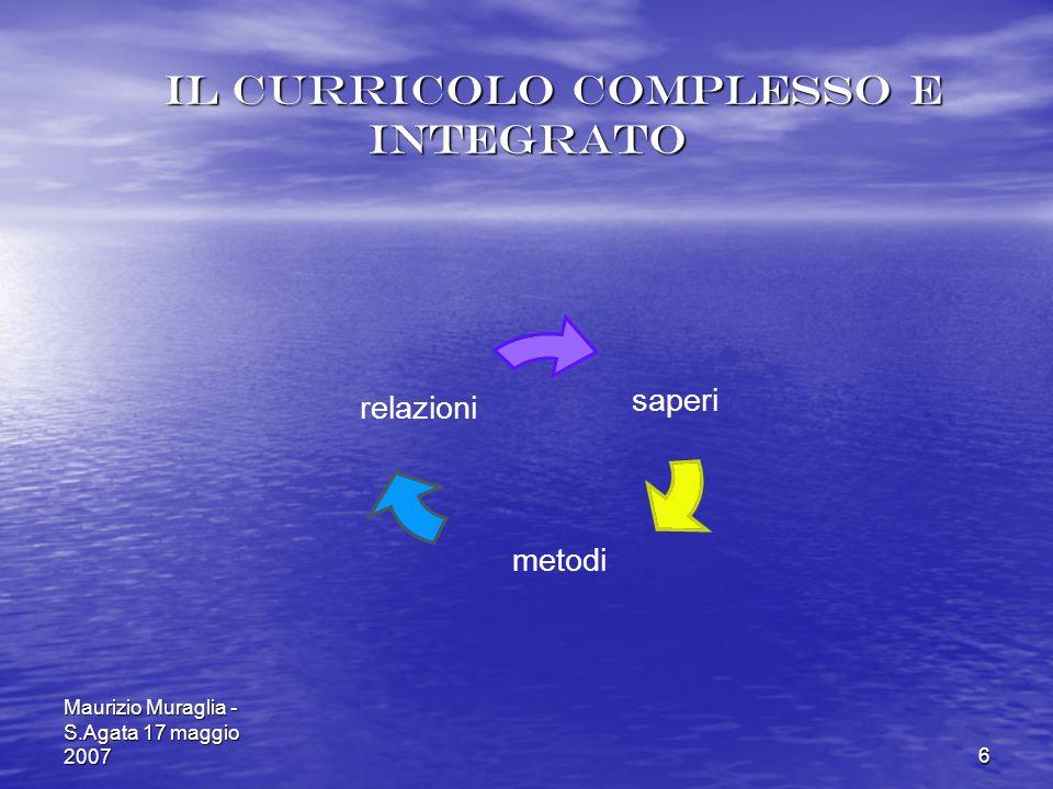 Maurizio Muraglia - S.Agata 17 maggio 20076 Il curricolo complesso e integrato Il curricolo complesso e integrato saperi metodi relazioni