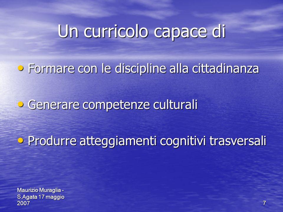 Maurizio Muraglia - S.Agata 17 maggio 20077 Un curricolo capace di Formare con le discipline alla cittadinanza Formare con le discipline alla cittadin