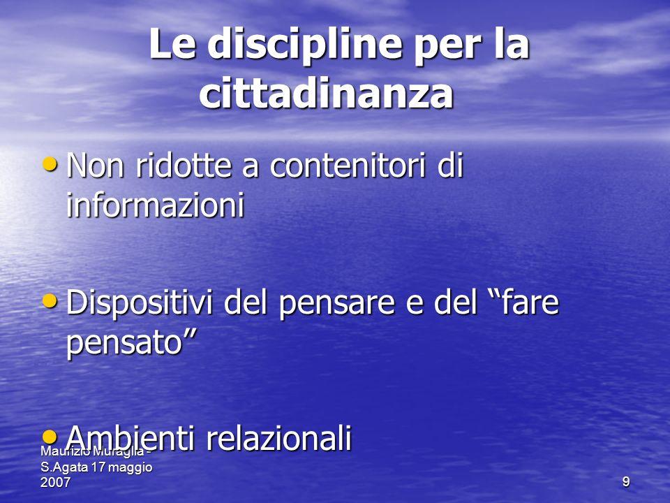 9 Le discipline per la cittadinanza Le discipline per la cittadinanza Non ridotte a contenitori di informazioni Non ridotte a contenitori di informazi
