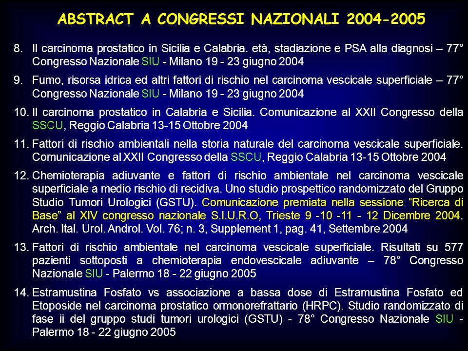 ABSTRACT A CONGRESSI NAZIONALI 2004-2005 8.Il carcinoma prostatico in Sicilia e Calabria. età, stadiazione e PSA alla diagnosi – 77° Congresso Naziona