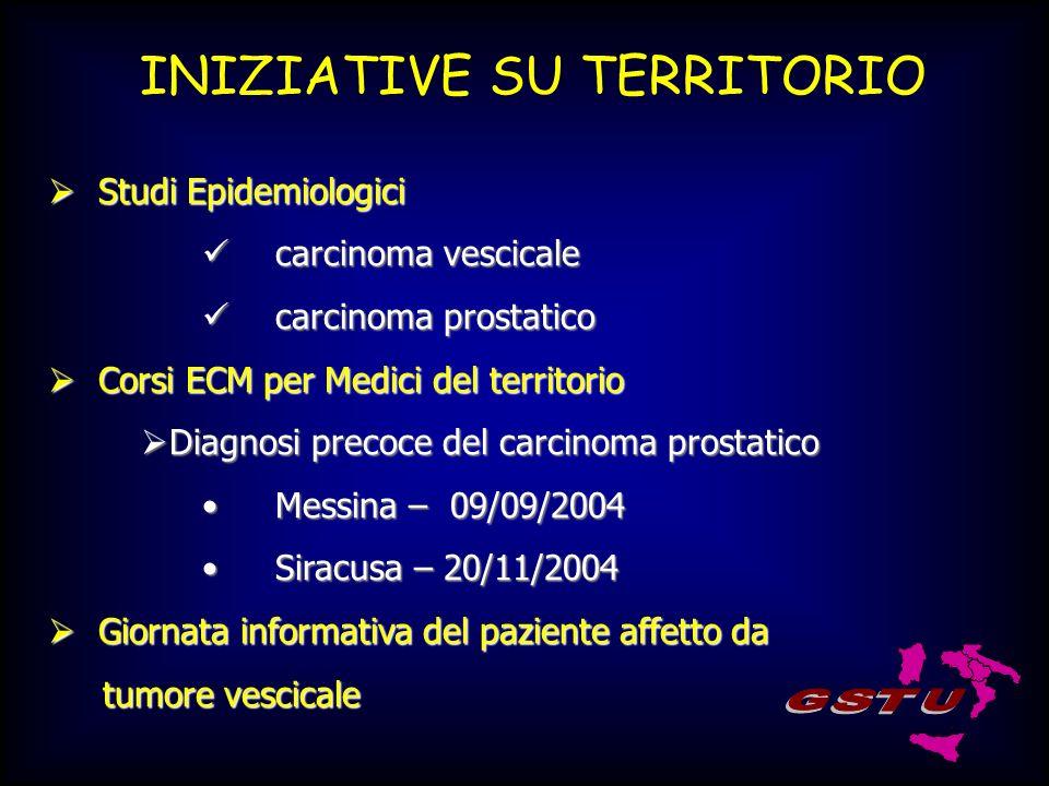 INIZIATIVE SU TERRITORIO Studi Epidemiologici Studi Epidemiologici carcinoma vescicale carcinoma vescicale carcinoma prostatico carcinoma prostatico C