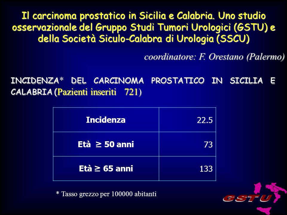 Il carcinoma prostatico in Sicilia e Calabria.