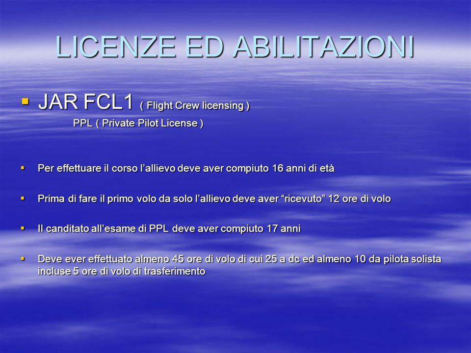 LICENZE ED ABILITAZIONI JAR FCL1 ( Flight Crew licensing ) JAR FCL1 ( Flight Crew licensing ) PPL ( Private Pilot License ) PPL ( Private Pilot Licens
