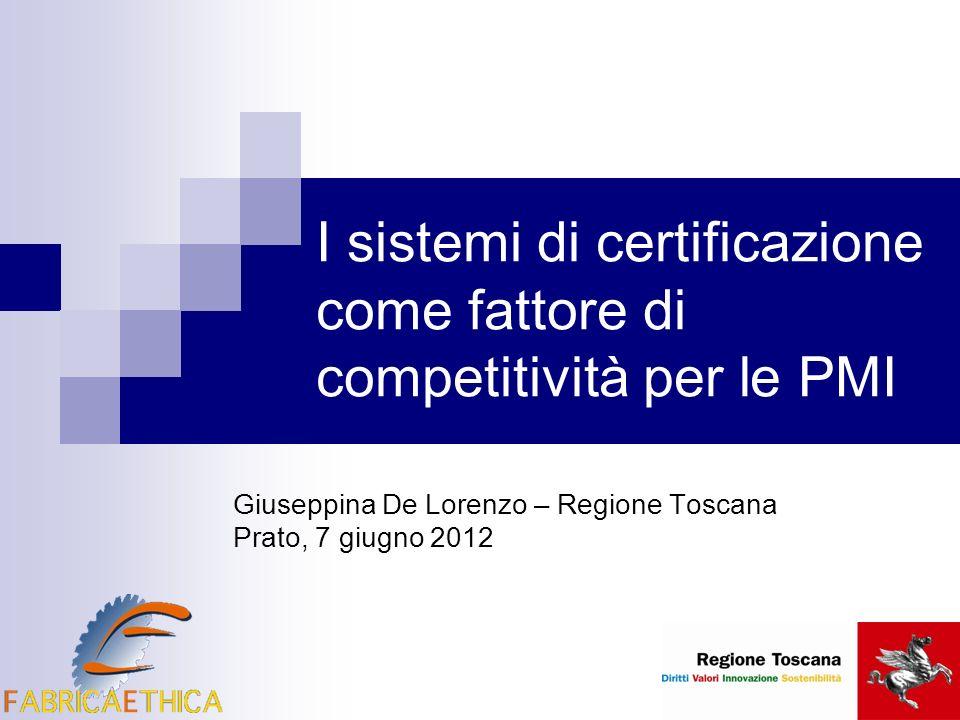 I sistemi di certificazione come fattore di competitività per le PMI Giuseppina De Lorenzo – Regione Toscana Prato, 7 giugno 2012