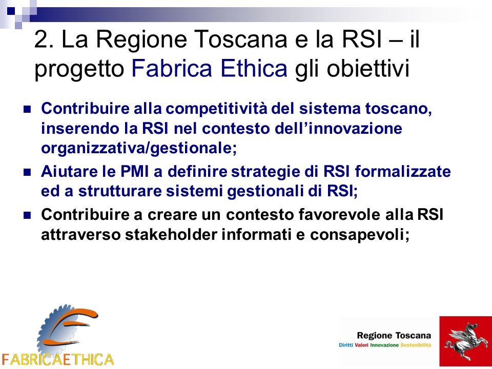 2. La Regione Toscana e la RSI – il progetto Fabrica Ethica gli obiettivi Contribuire alla competitività del sistema toscano, inserendo la RSI nel con