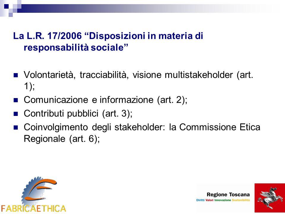 La L.R. 17/2006 Disposizioni in materia di responsabilità sociale Volontarietà, tracciabilità, visione multistakeholder (art. 1); Comunicazione e info