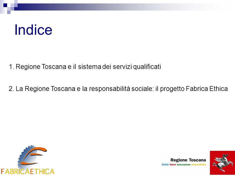 Indice 1.Regione Toscana e il sistema dei servizi qualificati 2.La Regione Toscana e la responsabilità sociale: il progetto Fabrica Ethica