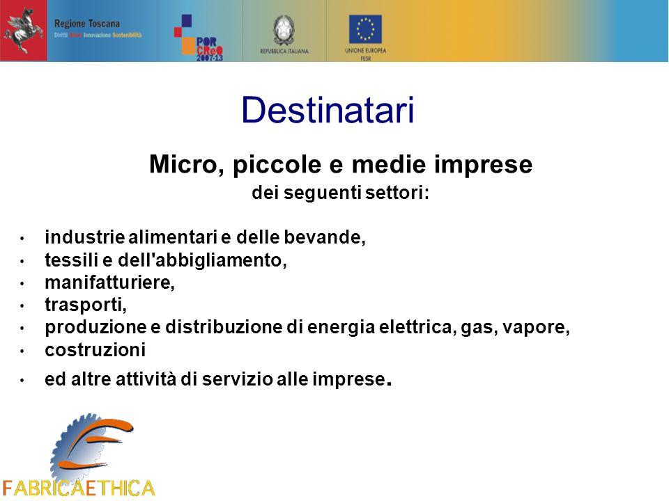 Micro, piccole e medie imprese dei seguenti settori: industrie alimentari e delle bevande, tessili e dell'abbigliamento, manifatturiere, trasporti, pr