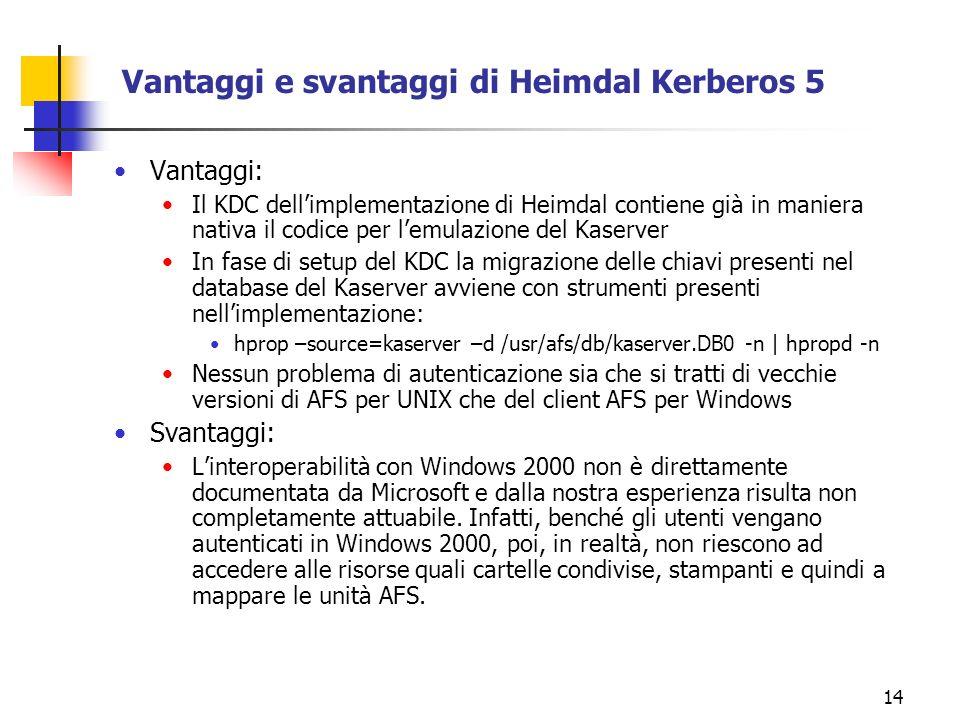 14 Vantaggi e svantaggi di Heimdal Kerberos 5 Vantaggi: Il KDC dellimplementazione di Heimdal contiene già in maniera nativa il codice per lemulazione del Kaserver In fase di setup del KDC la migrazione delle chiavi presenti nel database del Kaserver avviene con strumenti presenti nellimplementazione: hprop –source=kaserver –d /usr/afs/db/kaserver.DB0 -n | hpropd -n Nessun problema di autenticazione sia che si tratti di vecchie versioni di AFS per UNIX che del client AFS per Windows Svantaggi: Linteroperabilità con Windows 2000 non è direttamente documentata da Microsoft e dalla nostra esperienza risulta non completamente attuabile.