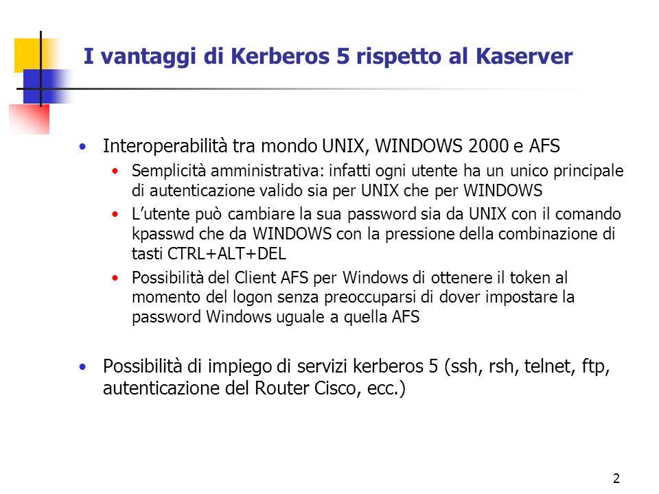23 Configurare /etc/krb5.conf di MIT Kerberos 5 su SIRIO [logging] default = FILE:/var/kerberos/krb5kdc/kdc.log kdc = FILE:/var/kerberos/krb5kdc/kdc.log admin_server = FILE:/var/kerberos/krb5kdc/kdc.log [libdefaults] ticket_lifetime = 24000 default_realm = LE.INFN.IT [realms] LE.INFN.IT= { kdc = afs02.le.infn.it:88 admin_server = sirio.le.infn.it:749 default_domain = le.infn.it } [domain_realm].le.infn.it= LE.INFN.IT le.infn.it= LE.INFN.IT [kdc] profile = /var/kerberos/krb5kdc/kdc.conf [pam] debug = false ticket_lifetime = 36000 renew_lifetime = 36000 forwardable = true krb4_convert = false