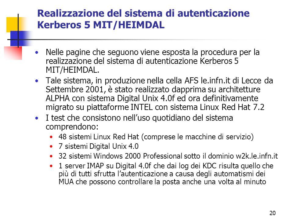 20 Realizzazione del sistema di autenticazione Kerberos 5 MIT/HEIMDAL Nelle pagine che seguono viene esposta la procedura per la realizzazione del sistema di autenticazione Kerberos 5 MIT/HEIMDAL.