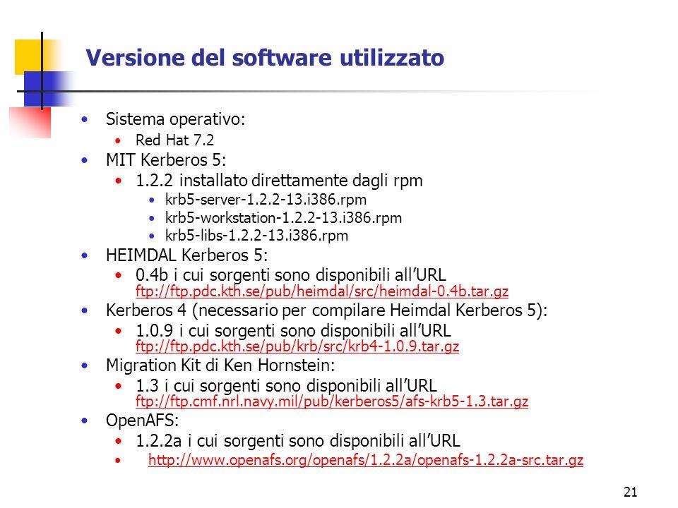 21 Versione del software utilizzato Sistema operativo: Red Hat 7.2 MIT Kerberos 5: 1.2.2 installato direttamente dagli rpm krb5-server-1.2.2-13.i386.rpm krb5-workstation-1.2.2-13.i386.rpm krb5-libs-1.2.2-13.i386.rpm HEIMDAL Kerberos 5: 0.4b i cui sorgenti sono disponibili allURL ftp://ftp.pdc.kth.se/pub/heimdal/src/heimdal-0.4b.tar.gz ftp://ftp.pdc.kth.se/pub/heimdal/src/heimdal-0.4b.tar.gz Kerberos 4 (necessario per compilare Heimdal Kerberos 5): 1.0.9 i cui sorgenti sono disponibili allURL ftp://ftp.pdc.kth.se/pub/krb/src/krb4-1.0.9.tar.gz ftp://ftp.pdc.kth.se/pub/krb/src/krb4-1.0.9.tar.gz Migration Kit di Ken Hornstein: 1.3 i cui sorgenti sono disponibili allURL ftp://ftp.cmf.nrl.navy.mil/pub/kerberos5/afs-krb5-1.3.tar.gz ftp://ftp.cmf.nrl.navy.mil/pub/kerberos5/afs-krb5-1.3.tar.gz OpenAFS: 1.2.2a i cui sorgenti sono disponibili allURL http://www.openafs.org/openafs/1.2.2a/openafs-1.2.2a-src.tar.gz