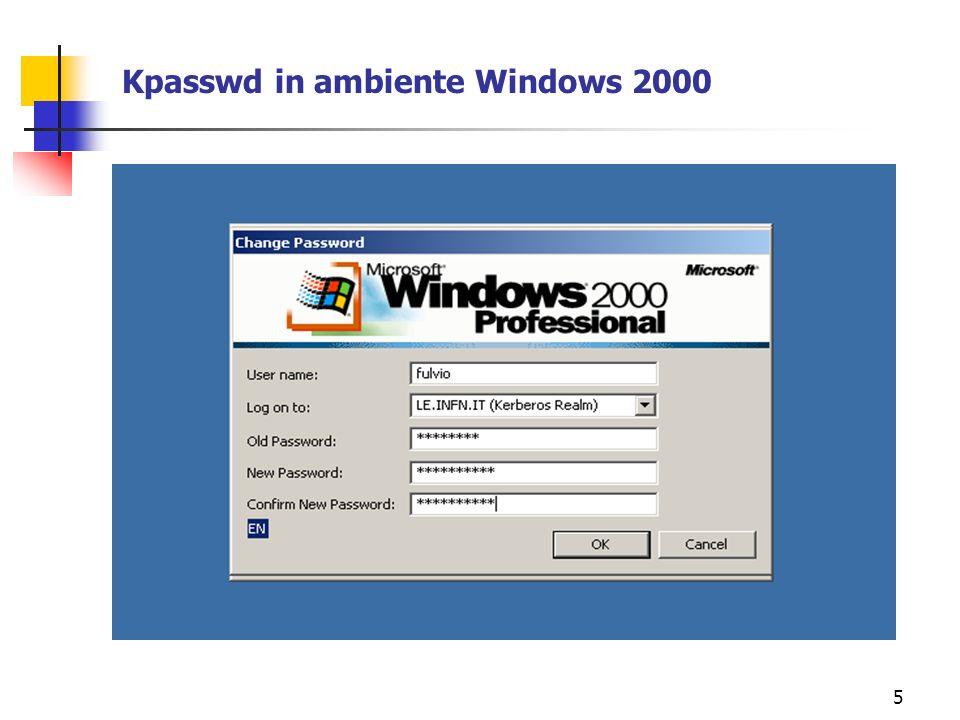 6 Funzionamento del trust tra KDC Unix e KDC Windows Windows 2000 Server KDC Kerberos 5 UNIX Windows 2000 Professional Risorsa Windows (Cartella,Printer) Trust bidirezionale non transitivo 1.