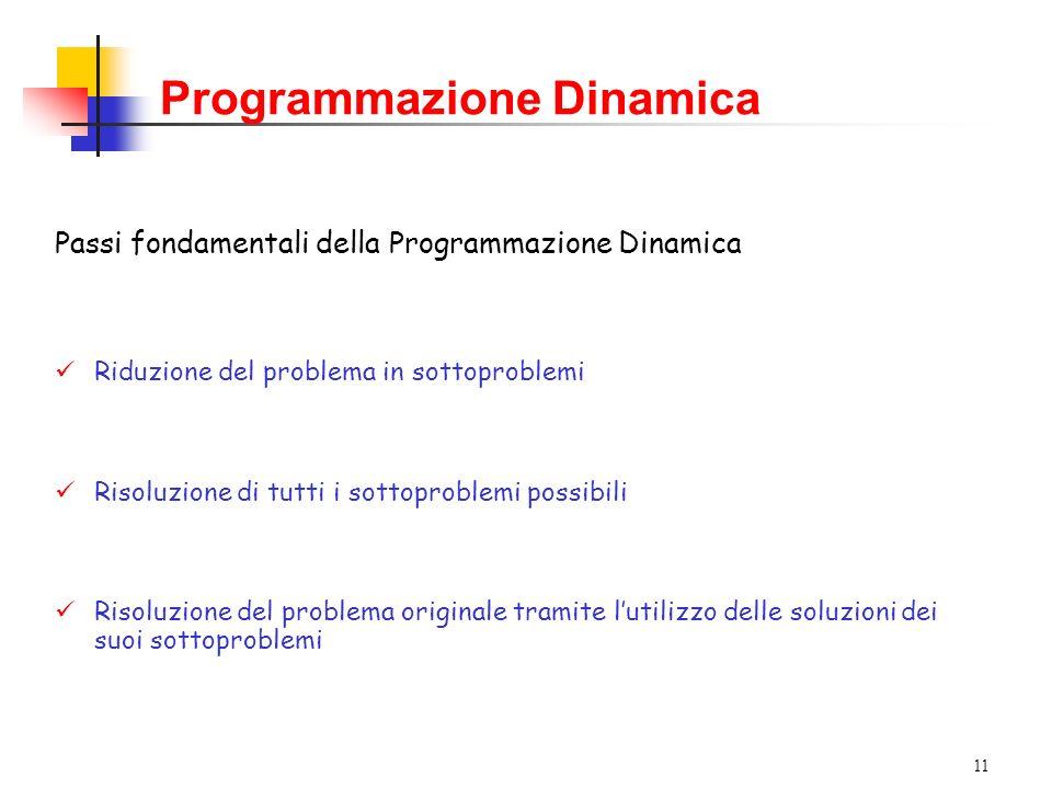 11 Programmazione Dinamica Passi fondamentali della Programmazione Dinamica Riduzione del problema in sottoproblemi Risoluzione di tutti i sottoproblemi possibili Risoluzione del problema originale tramite lutilizzo delle soluzioni dei suoi sottoproblemi