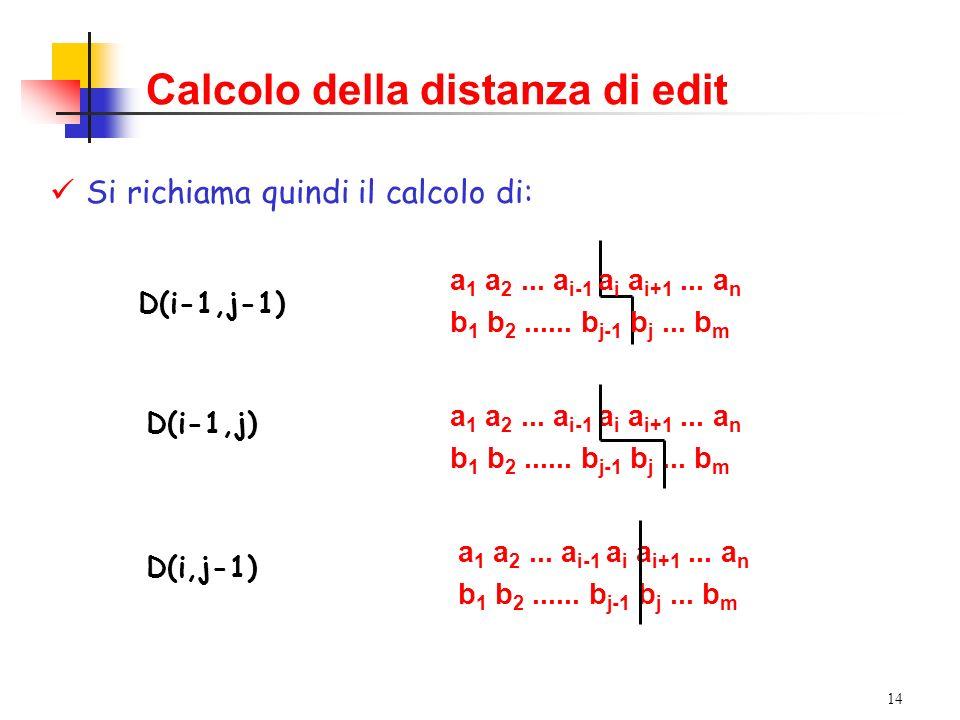 14 Calcolo della distanza di edit Si richiama quindi il calcolo di: a 1 a 2...