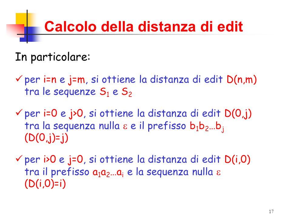 17 Calcolo della distanza di edit In particolare: per i=n e j=m, si ottiene la distanza di edit D(n,m) tra le sequenze S 1 e S 2 per i=0 e j>0, si ottiene la distanza di edit D(0,j) tra la sequenza nulla e il prefisso b 1 b 2 …b j (D(0,j)=j) per i>0 e j=0, si ottiene la distanza di edit D(i,0) tra il prefisso a 1 a 2 …a i e la sequenza nulla (D(i,0)=i)