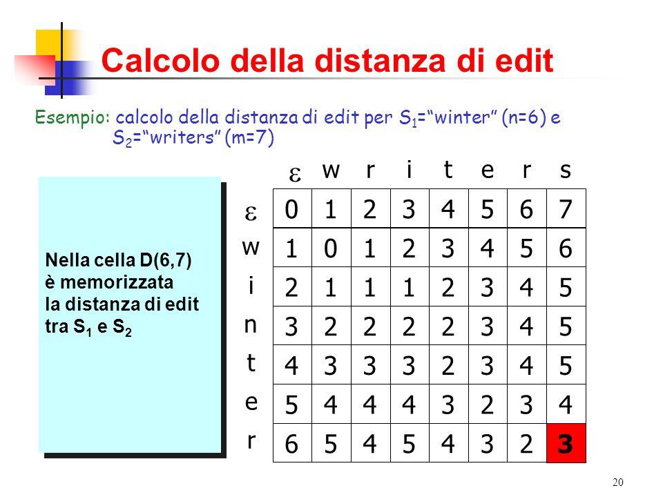 20 Calcolo della distanza di edit Esempio: calcolo della distanza di edit per S 1 =winter (n=6) e S 2 =writers (m=7) writers w n t i e r Si costruisca la matrice D di n+1 (6+1) righe e m+1 (7+1) colonne Si costruisca la matrice D di n+1 (6+1) righe e m+1 (7+1) colonne Si riempiano le celle D(0,j) e D(i,0) con i rispettivi valori dei casi base j e i Si riempiano le celle D(0,j) e D(i,0) con i rispettivi valori dei casi base j e i 01234567 1 2 3 4 5 6 La cella (1,1) avrà valore D(1,1) dato dal minimo tra: - D(0,0)+t(w,w)=0 - D(0,1)+1=2 - D(1,0)+1=2 Quindi: D(1,1)=0 La cella (1,1) avrà valore D(1,1) dato dal minimo tra: - D(0,0)+t(w,w)=0 - D(0,1)+1=2 - D(1,0)+1=2 Quindi: D(1,1)=0 0 La cella (1,2) avrà valore D(1,2) dato dal minimo tra: - D(0,1)+t(w,r)=2 - D(0,2)+1=3 - D(1,1)+1=1 Quindi: D(1,2)=1 La cella (1,2) avrà valore D(1,2) dato dal minimo tra: - D(0,1)+t(w,r)=2 - D(0,2)+1=3 - D(1,1)+1=1 Quindi: D(1,2)=1 1 …e così di seguito …e così di seguito 23456 1112345 2222345 3332345 4443234 5454323 Nella cella D(6,7) è memorizzata la distanza di edit tra S 1 e S 2 Nella cella D(6,7) è memorizzata la distanza di edit tra S 1 e S 2 3