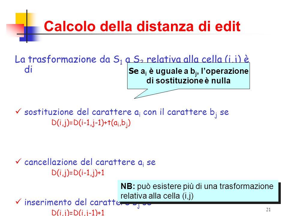 21 Calcolo della distanza di edit La trasformazione da S 1 a S 2 relativa alla cella (i,j) è di sostituzione del carattere a i con il carattere b j se D(i,j)=D(i-1,j-1)+t(a i,b j ) cancellazione del carattere a i se D(i,j)=D(i-1,j)+1 inserimento del carattere b j se D(i,j)=D(i,j-1)+1 Se a i è uguale a b j, loperazione di sostituzione è nulla NB: può esistere più di una trasformazione relativa alla cella (i,j) NB: può esistere più di una trasformazione relativa alla cella (i,j)