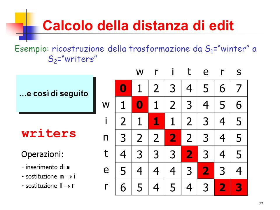 22 Calcolo della distanza di edit Esempio: ricostruzione della trasformazione da S 1 =winter a S 2 =writers writers w n t i e r 01234567 1 2 3 4 5 6 0123456 1112345 2222345 3332345 4443234 5454323 3 La cella (6,7) è stata prodotta a partire dalla cella (6,6) La cella (6,7) è stata prodotta a partire dalla cella (6,6) winter 2 winters 2 La cella (6,6) è stata prodotta a partire dalla cella (5,5) La cella (6,6) è stata prodotta a partire dalla cella (5,5) winters 2 …e così di seguito winters 2 1 wiiters 0 writers 0 Operazioni: .