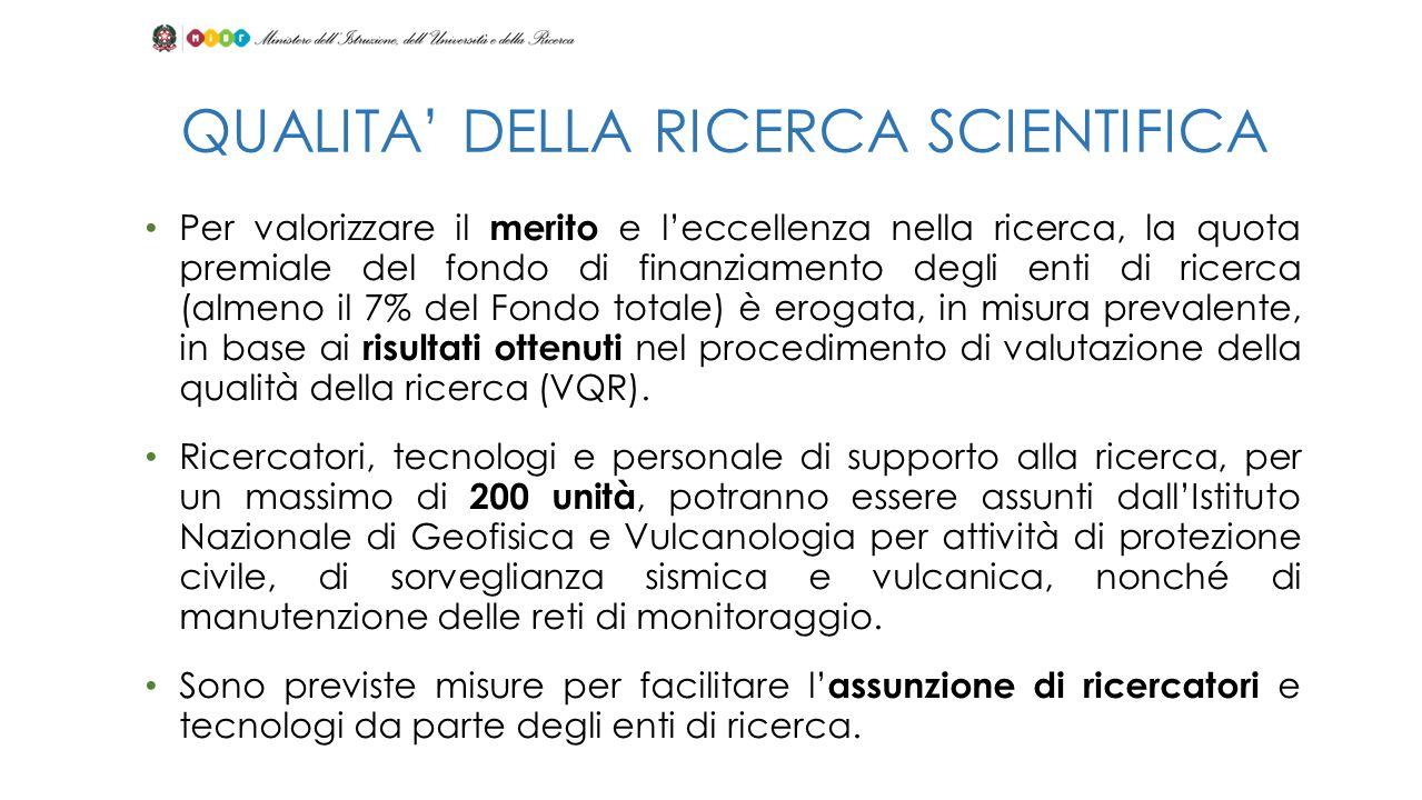 Per valorizzare il merito e leccellenza nella ricerca, la quota premiale del fondo di finanziamento degli enti di ricerca (almeno il 7% del Fondo tota