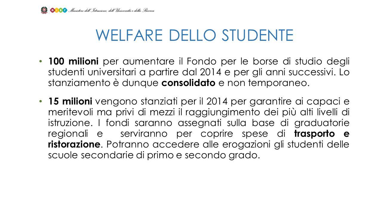 100 milioni per aumentare il Fondo per le borse di studio degli studenti universitari a partire dal 2014 e per gli anni successivi. Lo stanziamento è