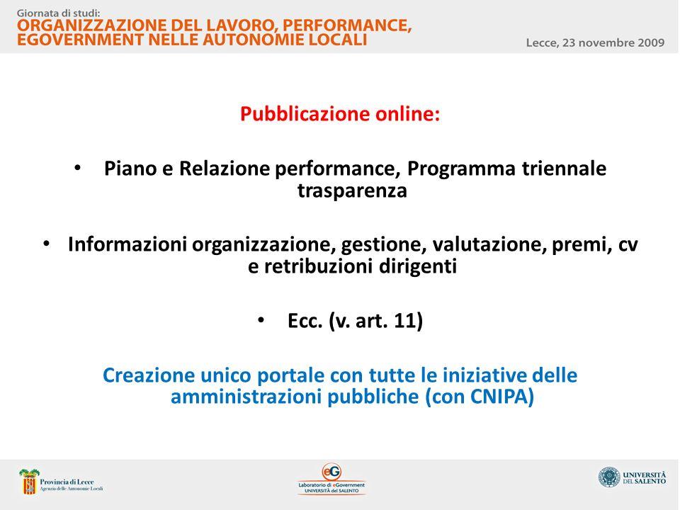 Pubblicazione online: Piano e Relazione performance, Programma triennale trasparenza Informazioni organizzazione, gestione, valutazione, premi, cv e r