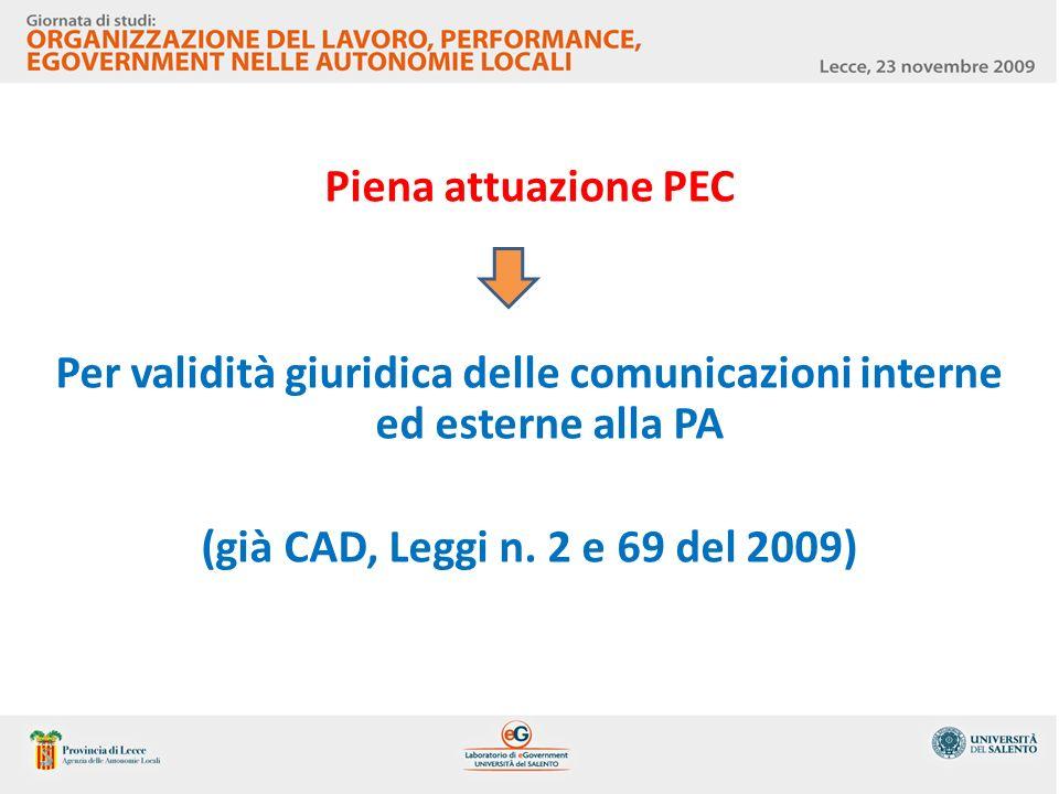 Piena attuazione PEC Per validità giuridica delle comunicazioni interne ed esterne alla PA (già CAD, Leggi n. 2 e 69 del 2009)