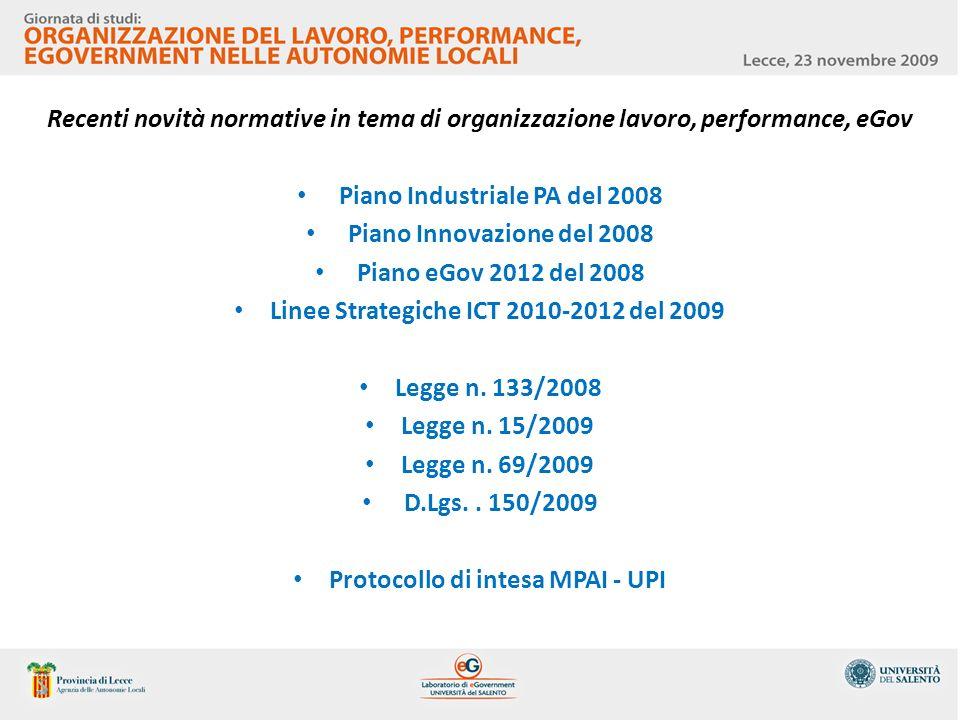 Recenti novità normative in tema di organizzazione lavoro, performance, eGov Piano Industriale PA del 2008 Piano Innovazione del 2008 Piano eGov 2012