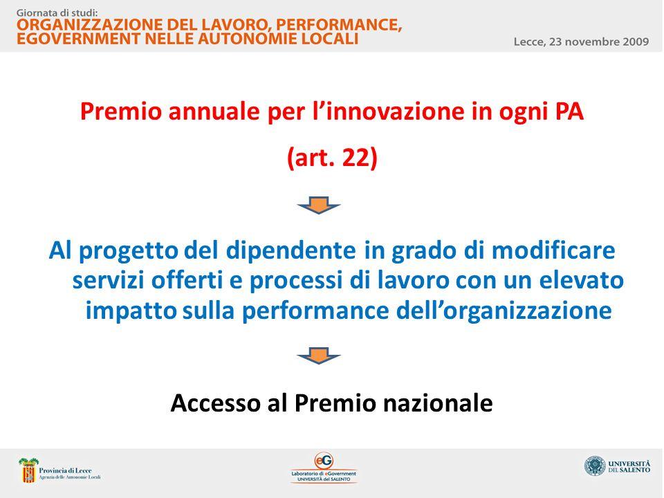 Premio annuale per linnovazione in ogni PA (art. 22) Al progetto del dipendente in grado di modificare servizi offerti e processi di lavoro con un ele