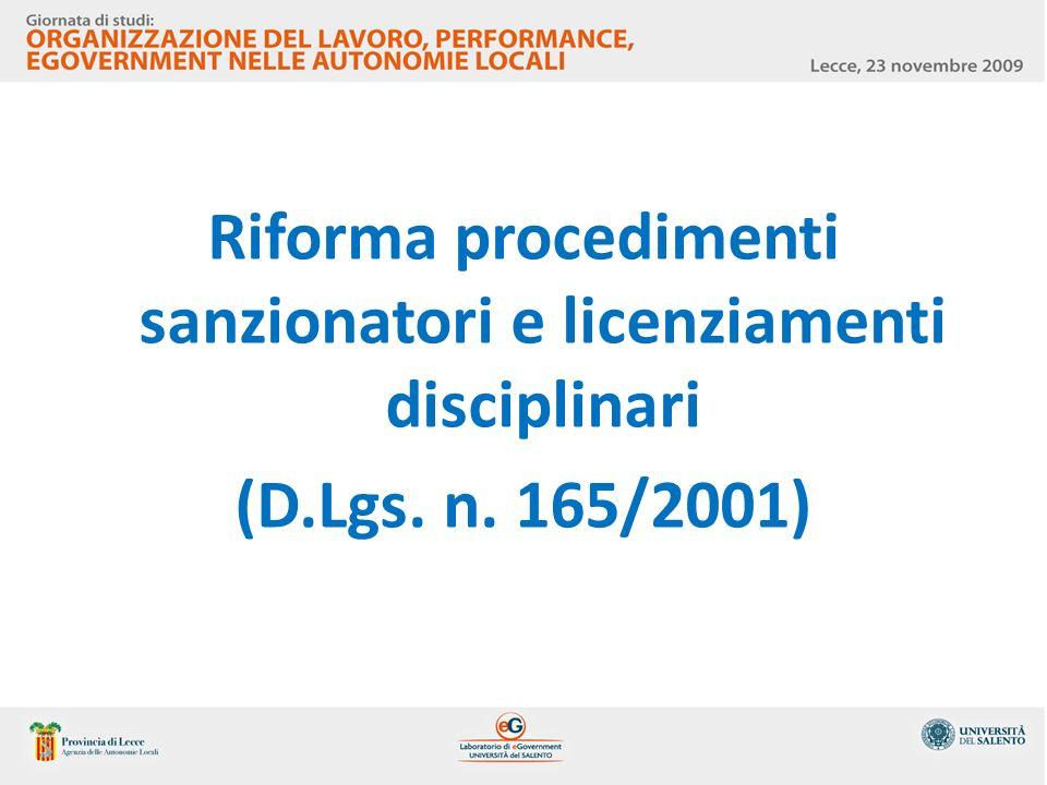 Riforma procedimenti sanzionatori e licenziamenti disciplinari (D.Lgs. n. 165/2001)