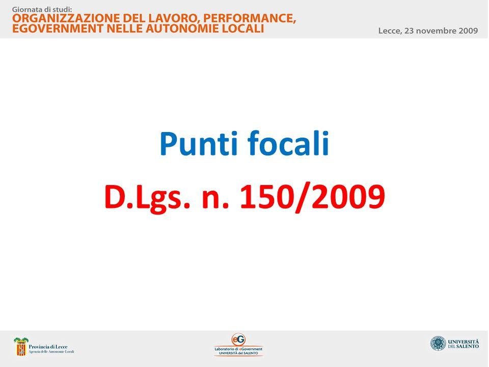 Punti focali D.Lgs. n. 150/2009