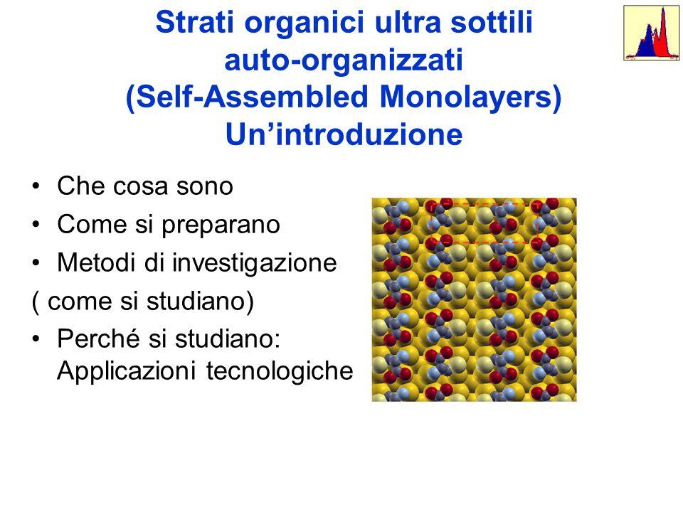 Strati organici ultra sottili auto-organizzati (Self-Assembled Monolayers) Unintroduzione Che cosa sono Come si preparano Metodi di investigazione ( c