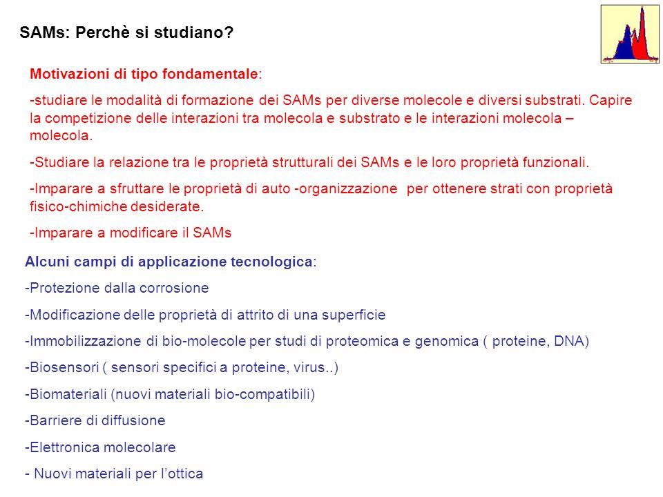SAMs: Perchè si studiano? Motivazioni di tipo fondamentale: -studiare le modalità di formazione dei SAMs per diverse molecole e diversi substrati. Cap